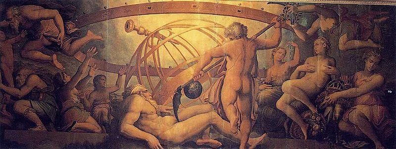 O titã Cronos, num misto de ciúme e inveja, mata o próprio pai, o deus Urano.
