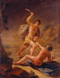 Consumido pelo ciúme, Caim mata Abel