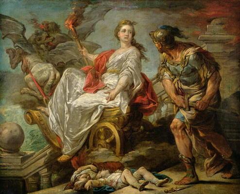 Possuída por ciúme e ódio, ao ser trocada pelo esposo Jasão, Medeia mata seus próprios filhos.