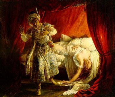 Imaginando-se traído, Otelo mata Desdêmona.